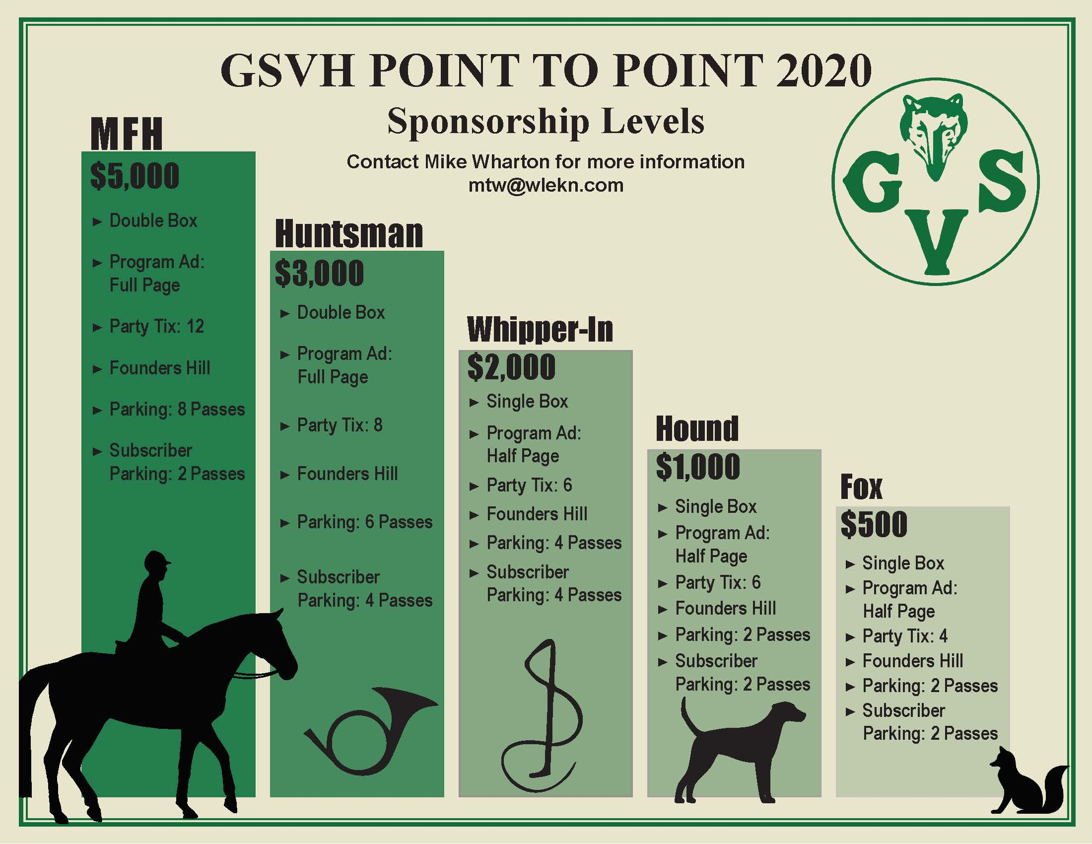 GSVH POINT TO POINT 2020 Sponsorship Levels